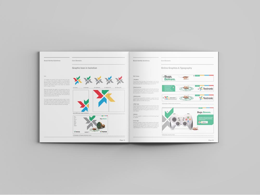 brand guide testronic2, rebrand, Form Advertising, Testronic, brand creation