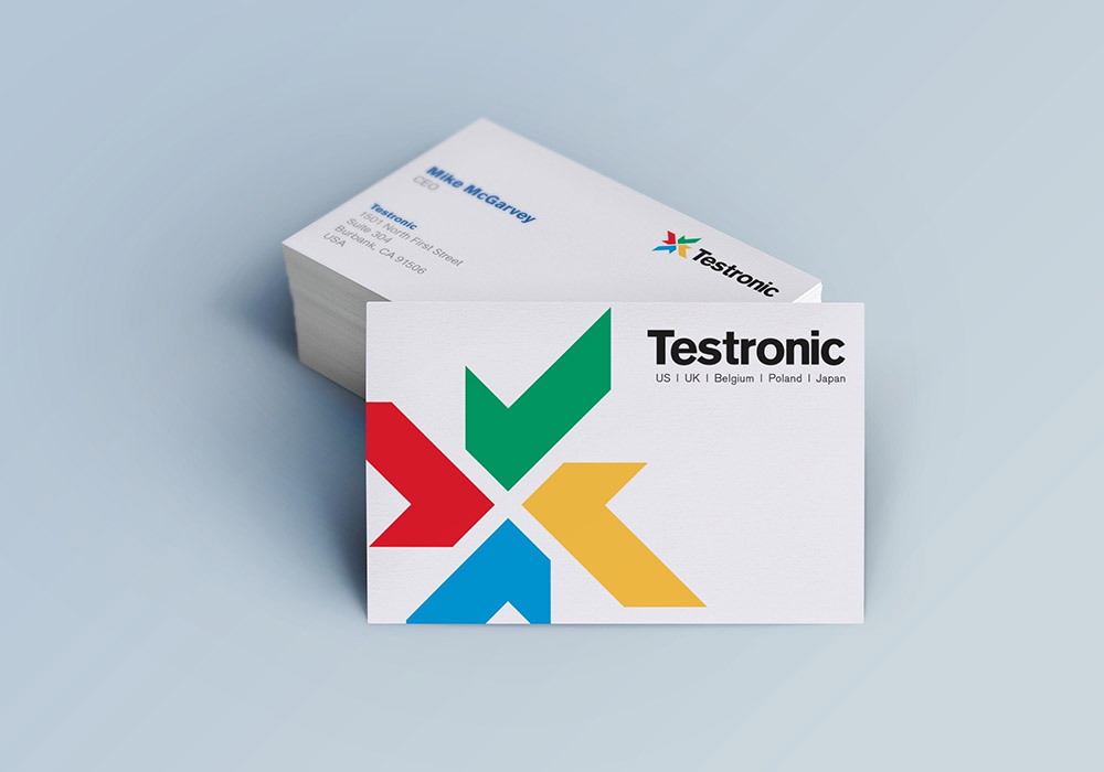 testronic brand stationery, rebrand, Form Advertising, Testronic, brand creation, business cards