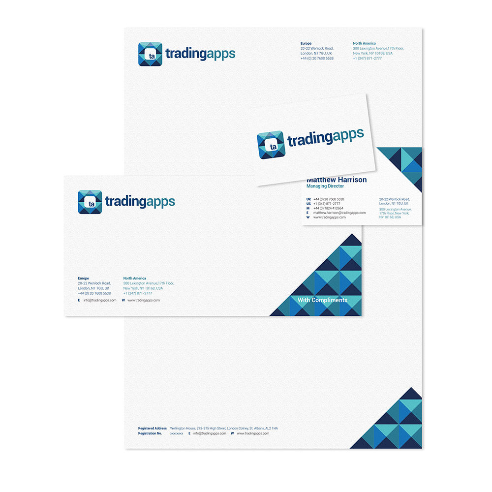 trading apps, stationery, trading apps, Form Advertising, logo, collateral design, branding