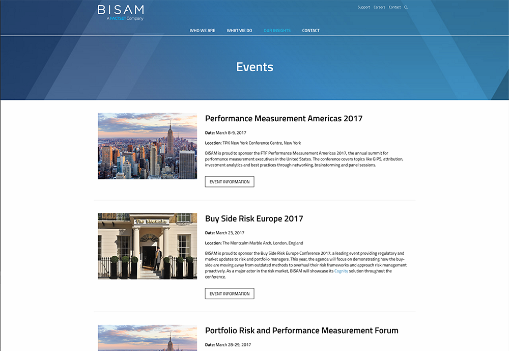 BISAM Website Design - Events