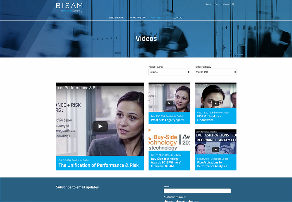 BISAM website Design - Video Blog